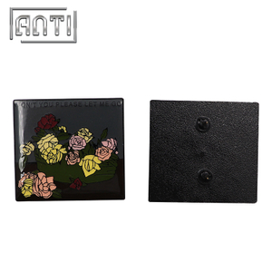 High Quality Rectangle Badge Novel Flower Lapel Pins Brooch with Letter