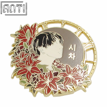 Wholesale Magnificent Round A Lot of Red Flower Beauty Men Hard Enamel Zinc Alloy Lapel Pin