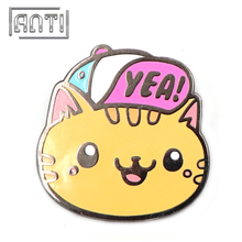 Big orange cat put on one`s hat hard enamel pin