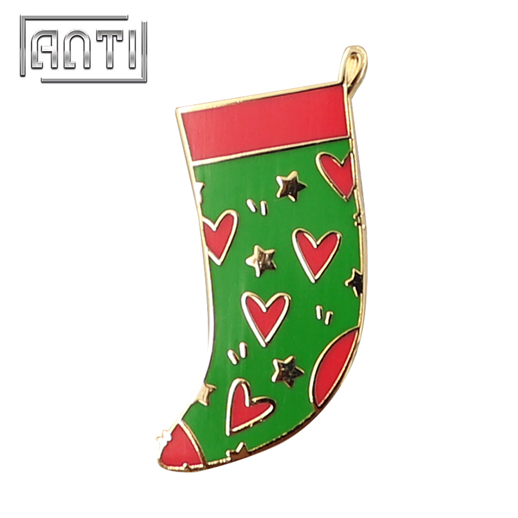 Custom Design Christmas Socks Badge Hard Enamel Lapel Pins