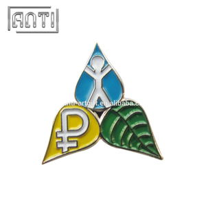 blue yellow green zinc alloy badge