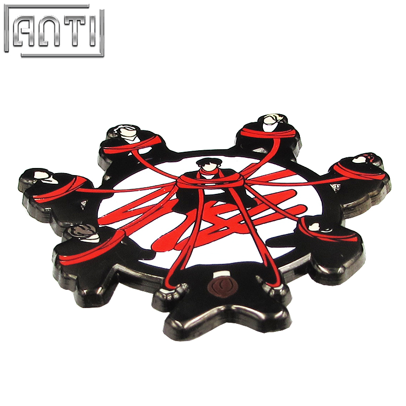 Wholesale Unique refinement Magnificent cartoon black and red colour cool a lot of handsome male black nickel lapel pin