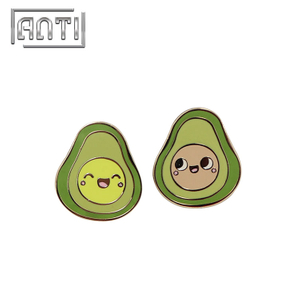 cute green avocado zinc alloy hard enamel badge
