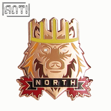 Wholesale Unique Quality College Design Style cool yellow and red lion hard enamel zinc alloy lapel pin