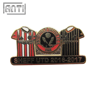 red and black T-shirt mark hard enamel metal badge