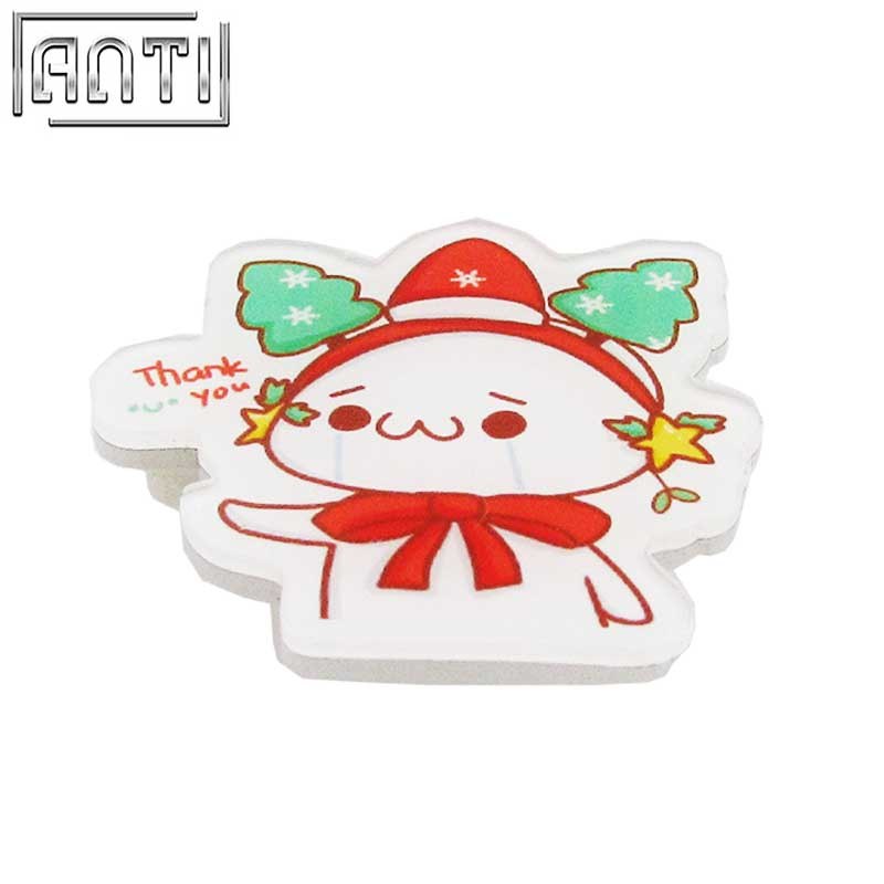 Custom No Minimum order red and white Acrylic cut Christmas cartoon offset print lapel pin