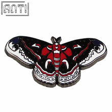 Wholesale manufacturer red and black cool beautiful butterfly black nickel hard enamel lapel pin